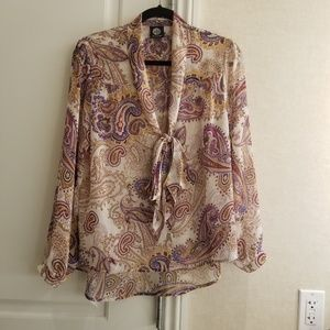 Bobeau boho pattern long sleeve blouse size L